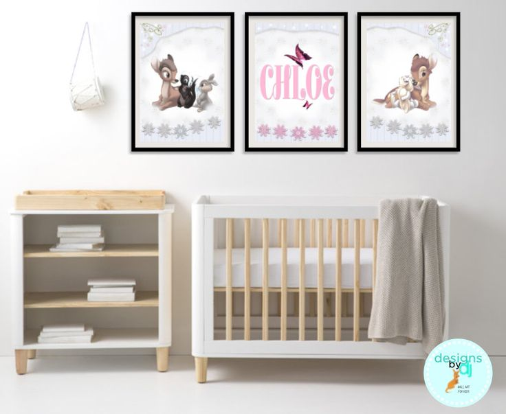 BAMBI Pink Grey Nursery Print Set Name Print Personalised Wall Art Baby Girl Baby Bedroom Decor by DesignsByDjKidsArt on Etsy