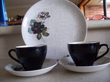 Gloria Rose Saucers and Black cup 24 cm Plate
