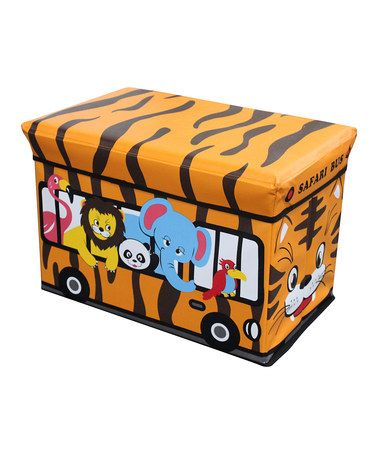 Take a look at this Orange Safari Bus Folding Storage Ottoman by All Tucked Away: Kids' Storage on #zulily today!