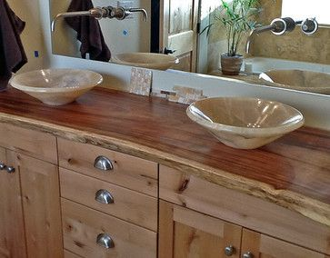 Picture Gallery Website slab wood vanity tops bathrooms Onyx Vessel Sinks on Natural Edge Wood Slab Vanity Top