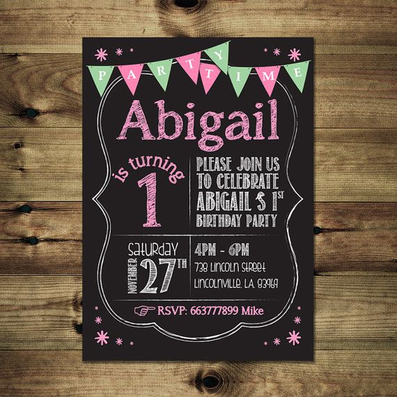 Chalkboard Birthday Invitation For Girl by PapierMignonID on Etsy