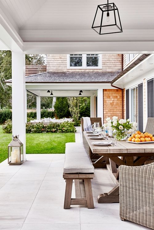 Hamptons Beach House Ideas. Outdoor Dining TablesOutdoor RoomsOutdoor LivingDining  Table BenchOutdoor ...