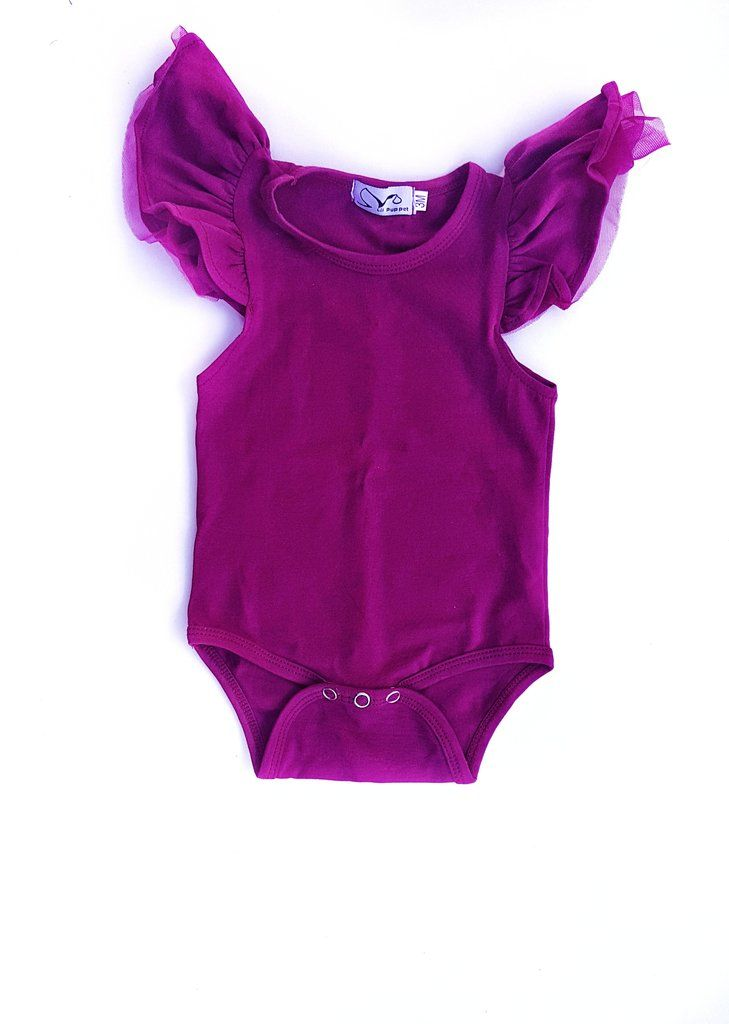 Gorgeous Tulle Flutter Sleeve Romper Snaps for easy nappy change Made from Quality Cotton Blend - 95 % Cotton 5% Spandex  We recommend to not Iron over the Tul