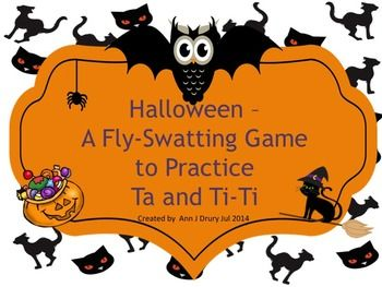 This Halloween themed fly-swatting activity is for practicing the rhythmic concepts of the quarter note (ta) and paired eighth notes (ti-ti).  Ideal as a starter or closing activity.  The first set of 16 slides have one rhythmic pattern per page for you to prepare your students before playing the game. The next set of 14 pages each have two rhythmic patterns per page and come with an embedded audio file. The third set of seven pages each have three rhythmic patterns per page.