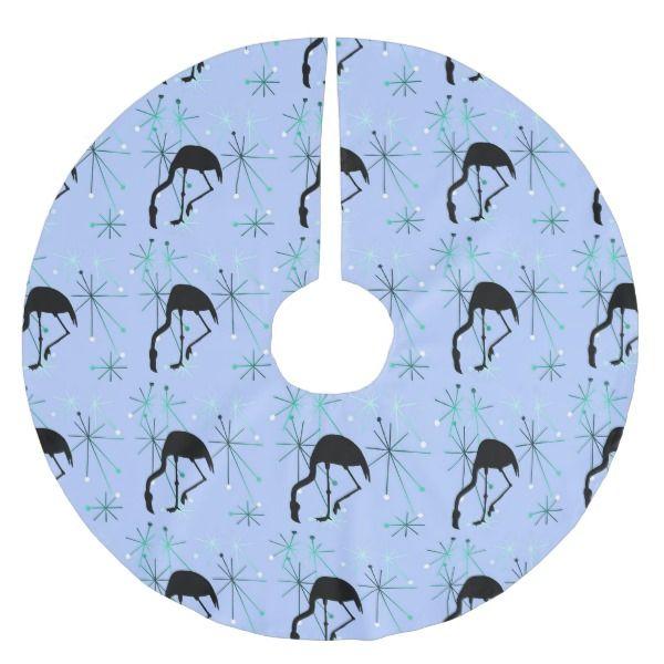 Atomic Starburst MidCentury Modern Flamingo Blue Brushed Polyester Tree Skirt #christmas #treeskirts #xmas #tree