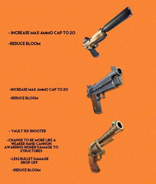 would this fan made concept make pistols more valuable in fortnite pistols in have long been overlooked by some fortnite fans for other weapon categories - damage drop off fortnite