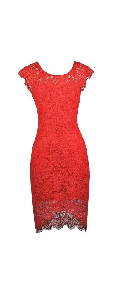 Lily Boutique Torey Eyelash Lace High Low Sheath Dress in Poppy Red, $46…