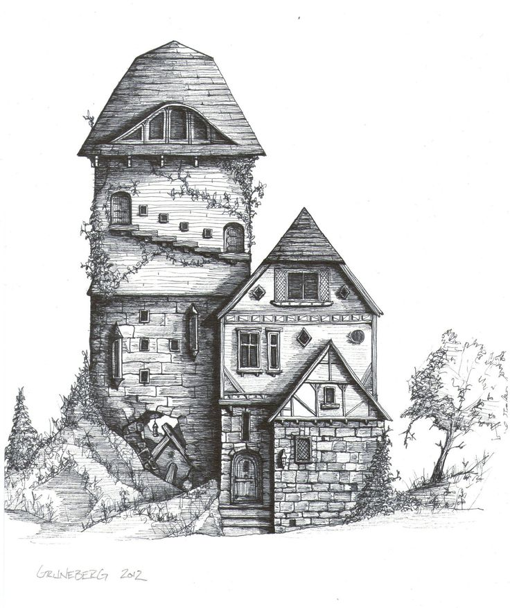 148 best pen ink examples images on pinterest draw for How to draw a cute house