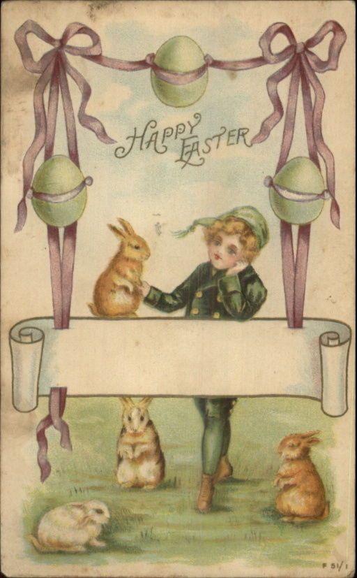 Easter - Little Boy & Rabbits c1910 Postcard | eBay