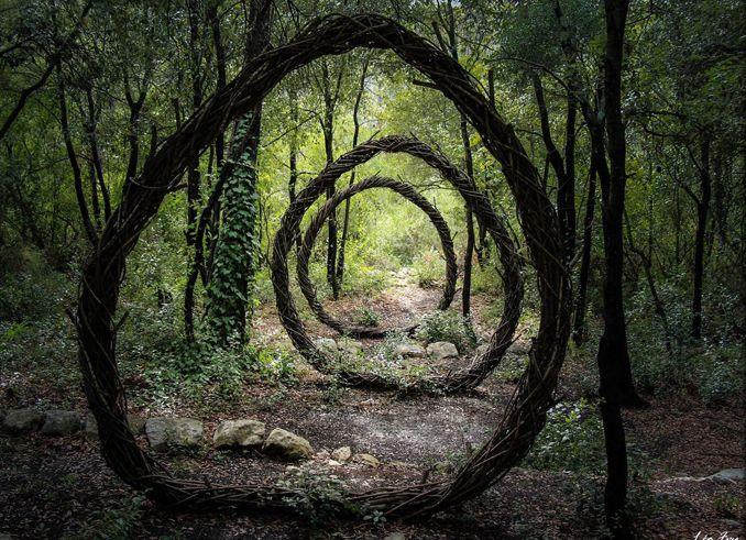 Holzskulpturen mitten im Wald, nachhaltig magisch