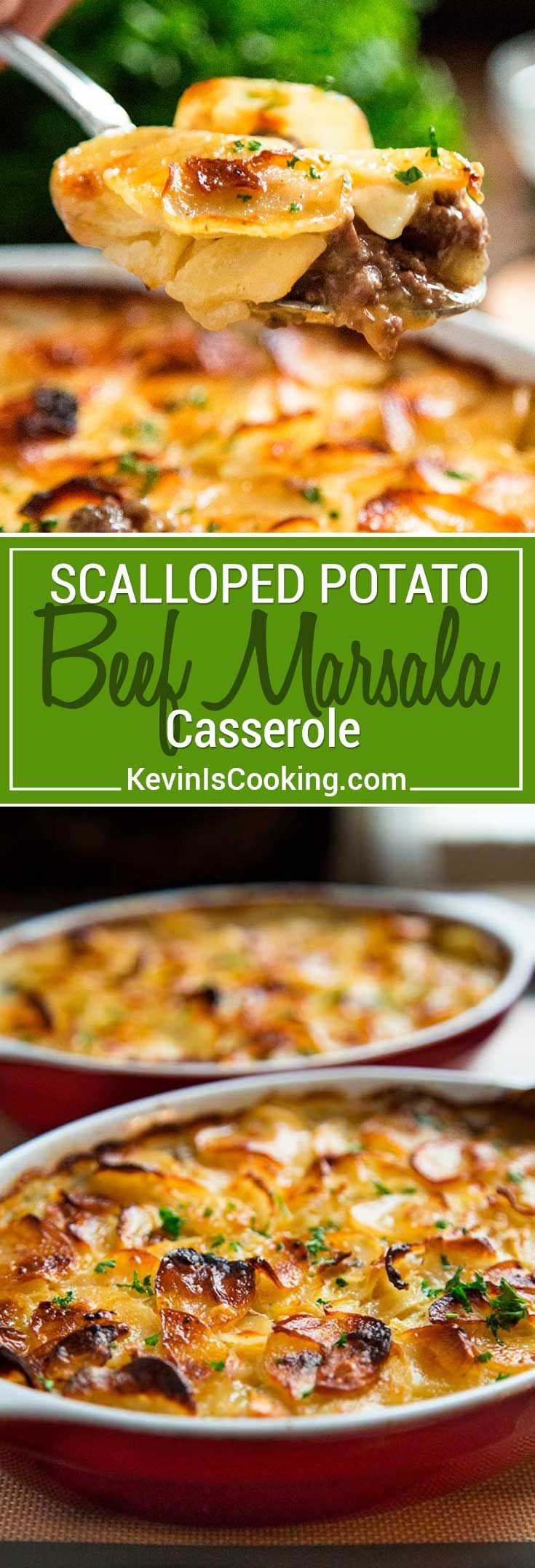 This Beef Marsala and Scalloped Potato Casserole has ground beef in a savory, delicious marsala wine sauce all layered with scalloped, cheesy potatoes.