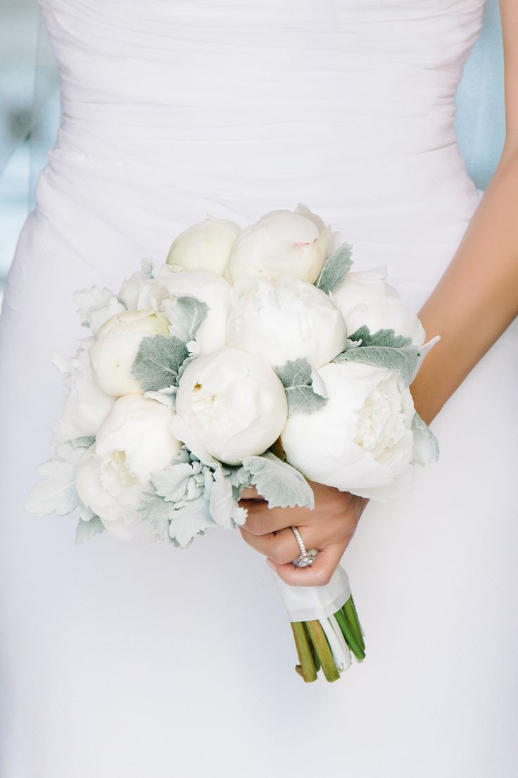 modern peony and dusty miller bouquet / flowers: Myrtie Blue / photo: dearwesleyann.com