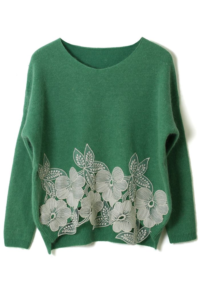 Green Wool Sweater with Floral Crochet Details