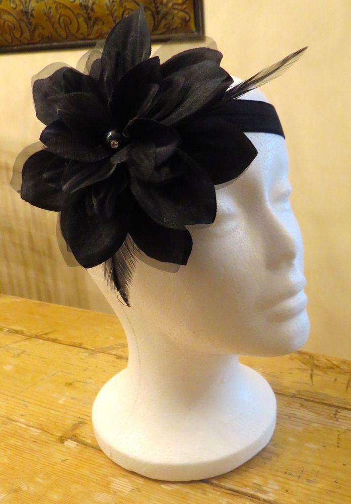 "NEW Custom Made Large Flower with Rhinestone Black Headband 18"""