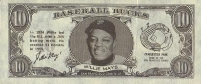 1962 Topps Bucks #NNO Willie Mays Front