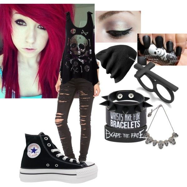 emo / punk / style / outfit / converse / escape the fate / skull face