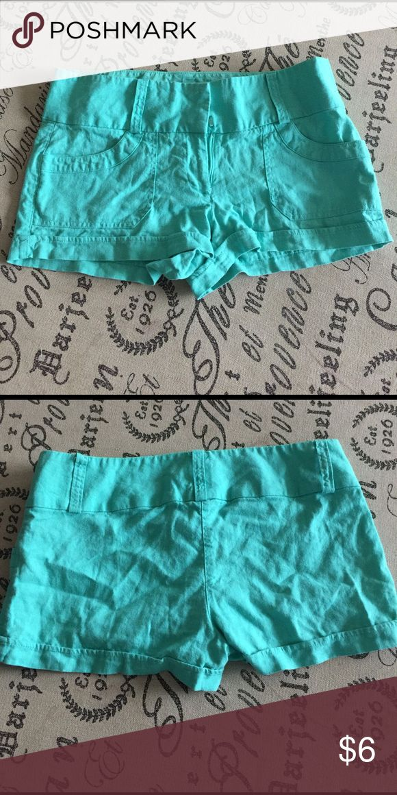 Aqua shorts. These shorts were a size 8 but shrunk in the was and now are a size 6.   I have priced them low to sell Charlotte Russe Shorts