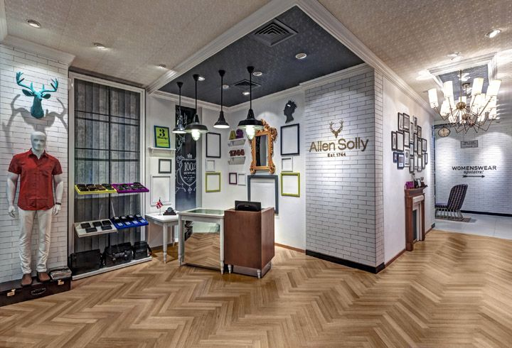 pretty cool retail space - like the herringbone parquet floor   | Allen Solly fashion store by Dalziel and Pow, Bangalore   India store design