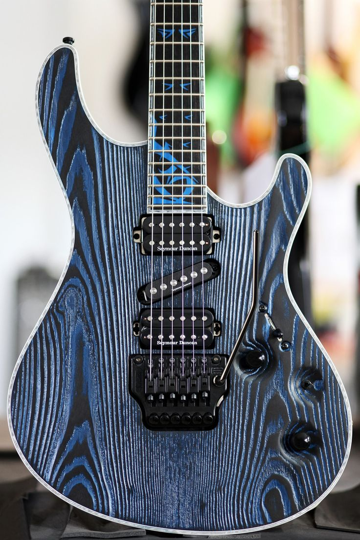 Mayones Regius PRO 6 Gothic Custom. Monolith Black PorBlue Matt finish. Swamp Ash body, Selected Ash top, ntb 11-ply neck section, Ebony fretboard, Luminlay side dots, Custom inlay, Seymour Duncan HSH pickups configuration: TB-4, SSL-4, and SH-2, Killswitch, Schaller Floyd Rose Pro bridge and tuners