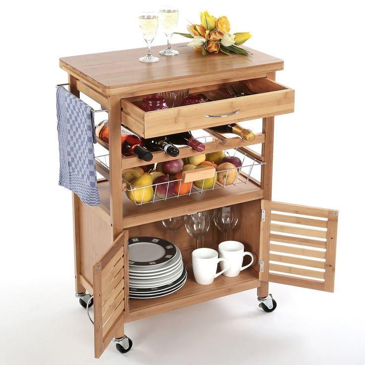 Torrex 39459 küchenwagen servierwagen küchentrolley aus bambus 88 x 36 x 60 cm mit