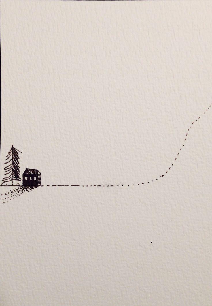 Tusch on paper. Allmost snow Iben munnecke 2014