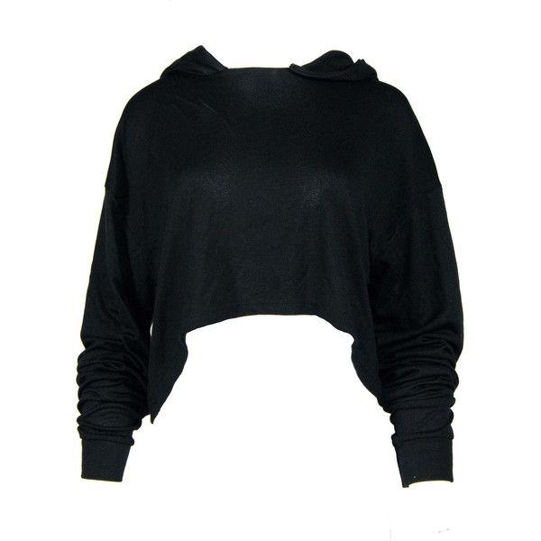 Black Cropped Hoody ($43) ❤ liked on Polyvore featuring tops, hoodies, hooded pullover, hooded sweatshirt, hoodie top, cropped hoodie and sweatshirt hoodies