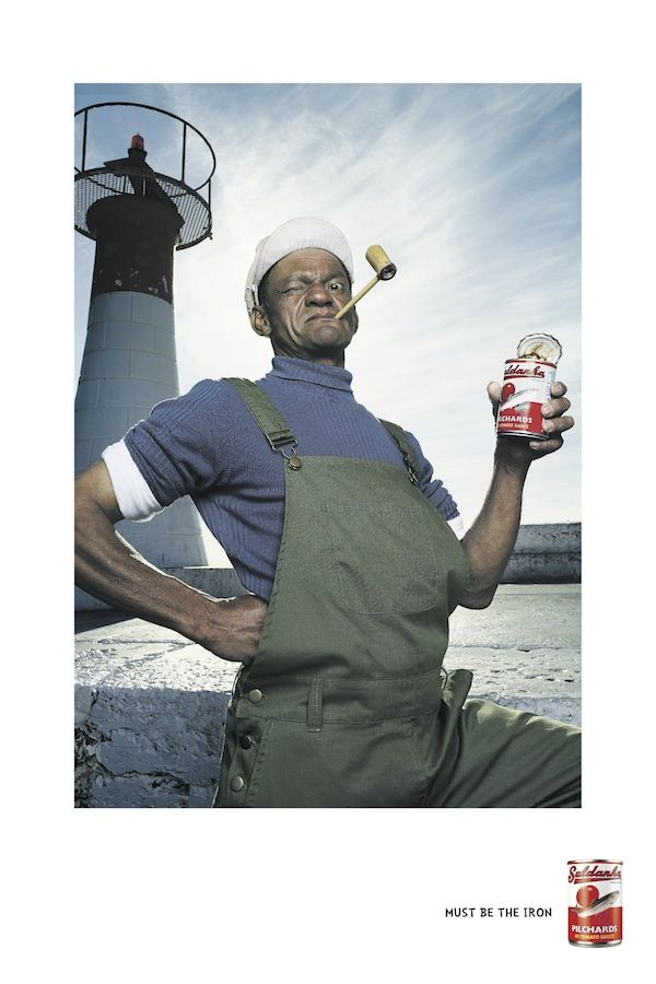 Ad campaign out of Saatchi & Saatchi Cape Town for Saldanha Pilchards. The print campaign emphasizes the health benefits of eating Saldanha Pilchards by turning Cape fishermen into well-known characters. Popeye for strength, Superman for energy and Einstein for brain power.