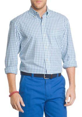 Izod Men's Big & Tall Essential Poplin Tattersall Shirt -  - No Size