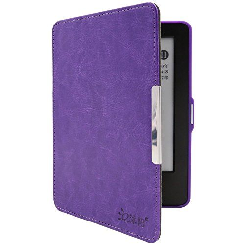 Muyang SmartShell Case for Kindle E-reader 6''-Crazy Horse Pattern Design with Hand Strap Auto Sleep/Wake Feature Purple