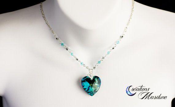 Swarovski Necklace Bleu Heart Necklace Crystal