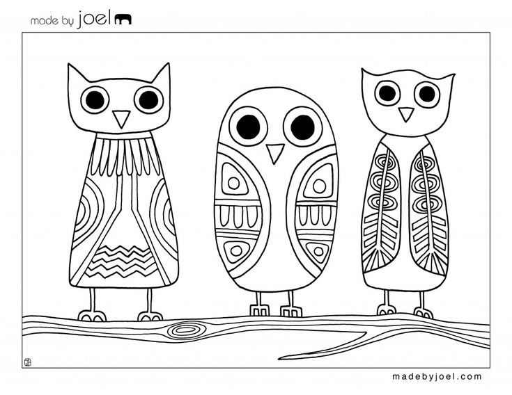 cute coloring page made by joel owls coloring sheet
