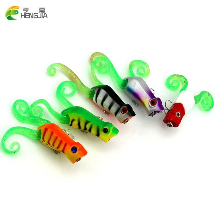 5PCS Popper Hard Bait Topwater Isca Artificial Fishing Lures Floating Soft Frog Pesca Fish 5.5CM 10.8G carp fishing tackle