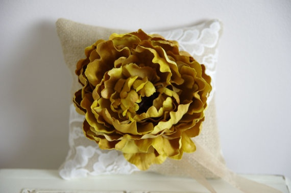 pillow: Burlap, Yellow Flowers, Lace, Etsy Favorites, Ring Bearer Pillows, Rings Bearer Pillows, Etsy Treasuries, Gold Flowers