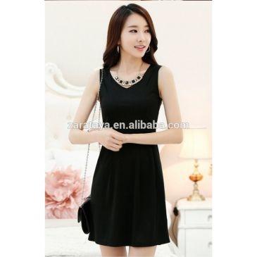 ポリエステル/綿材料およびoemサービスを供給する女性のジャンパースカートタイプ/ベストドレス/華美な装飾品ドレス