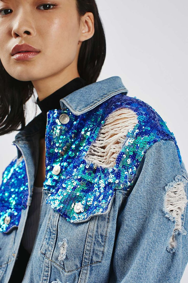 MOTO Sequin Ripped Denim Jacket @topshop