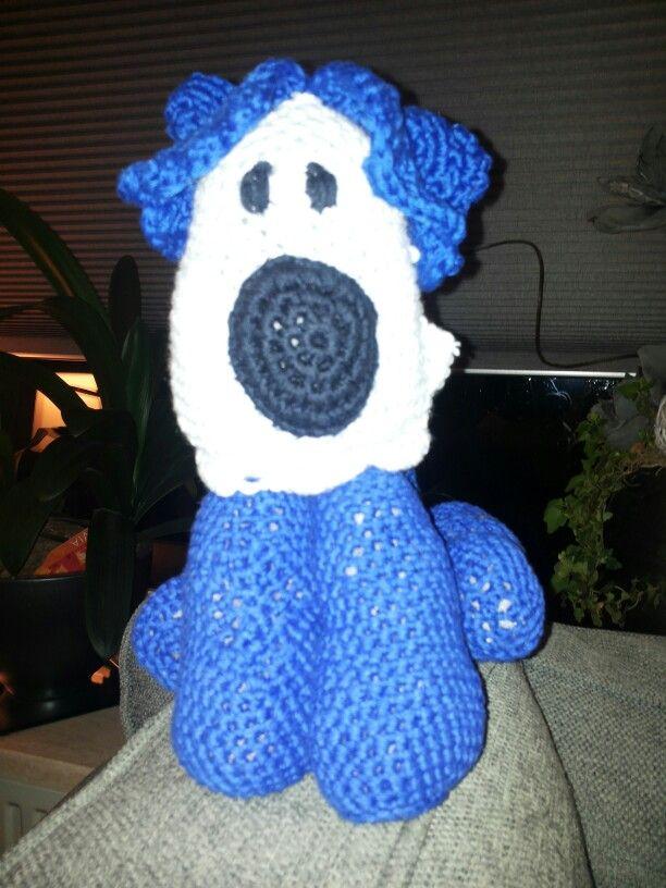 Blauwe hond gehaakt