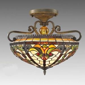 Real Stained Glass Tiffany Style Semi Flush Ceiling Light