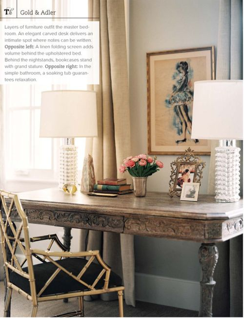 carved desk, gold chippendale chair, textured white lamps, vintage art