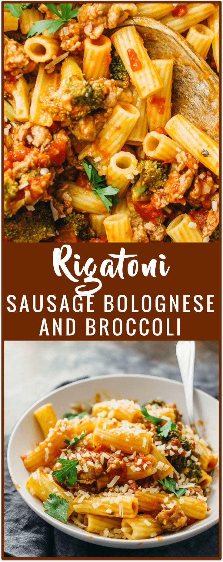 Rigatoni with sausage bolognese and broccoli - Use sausage for your next rigatoni bolognese! It's easy to swap out your typical ground beef for Italian sausage. This pasta recipe shows you how to make sausage bolognese with broccoli, crushed tomatoes, garlic, and a good heaping of spicy red pepper. - savorytooth.com