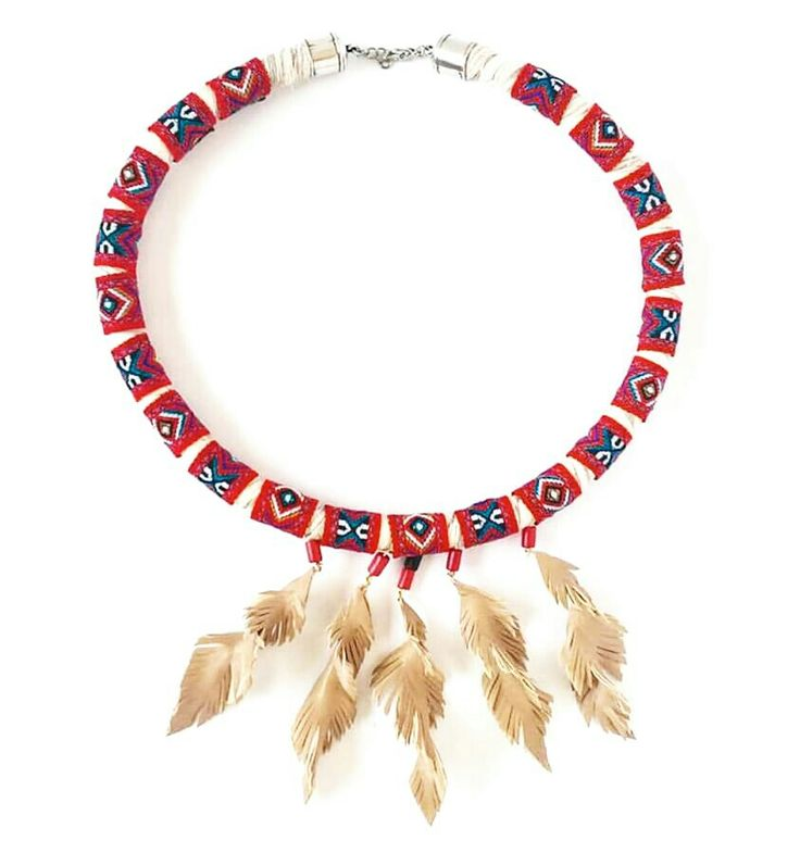 Boho handmade necklace with feathers