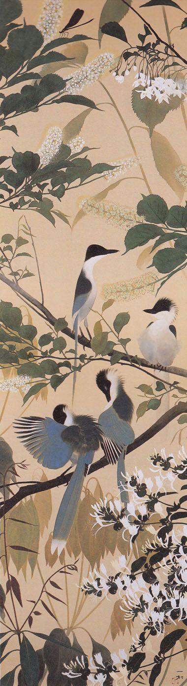 忍冬に尾長鳥 Isson Tanaka