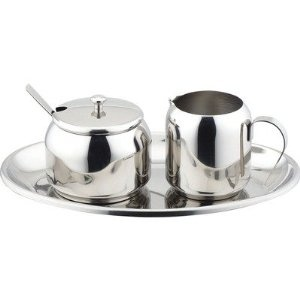 Stainless Steel 5 Pc Cream And Sugar Set Kitchen