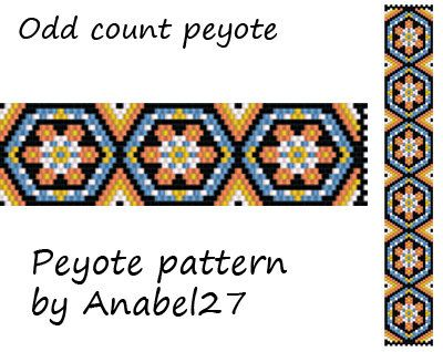 Pattern made with size 11/0 Miyuki Delica seed beads  Approx width: 1 (19 columns)  Approx length: 6.85 Technique: Odd Count Peyote  Colors: 5