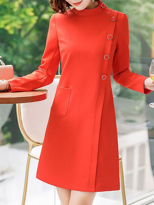 7e88235d18ae 2019 的 Stand Collar A-Line Work Elegant Buttoned Midi Dress | Red ...