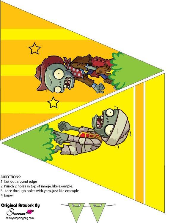 Banderines de Plantas Vs Zoombies para imprimir gratis