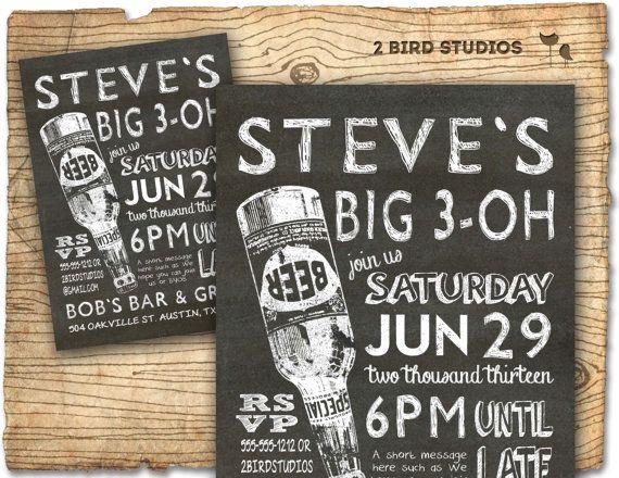 30th birthday invitation  30th 40th 50th 60th Male by 2birdstudios, $20.00