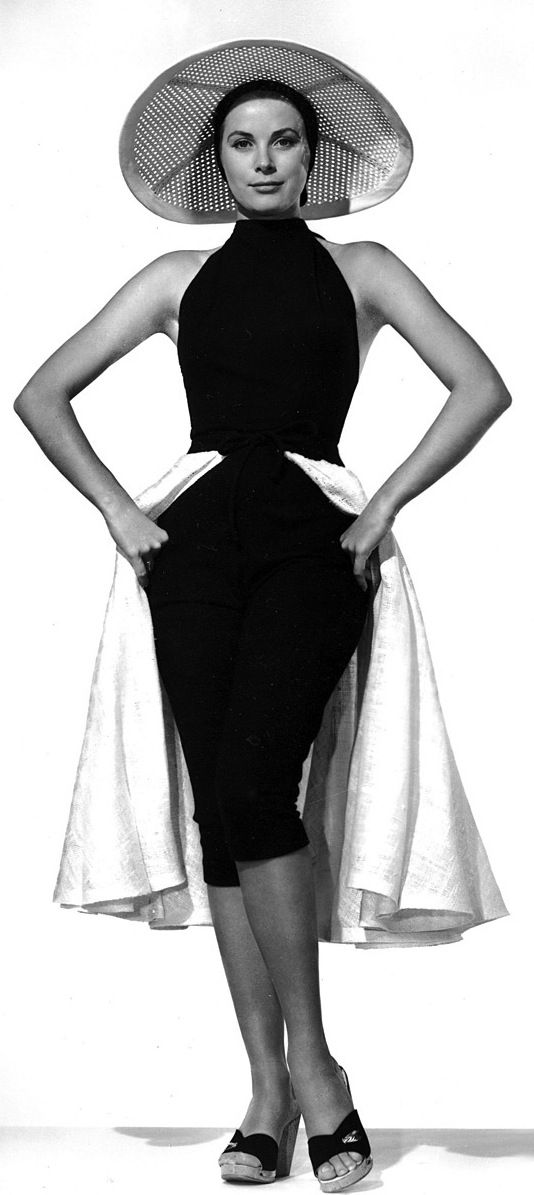 Grace Kelly in a design by Edith Head, 1955. A publicity shot for To Catch A Thief, her last film for Alfred Hitchcock.