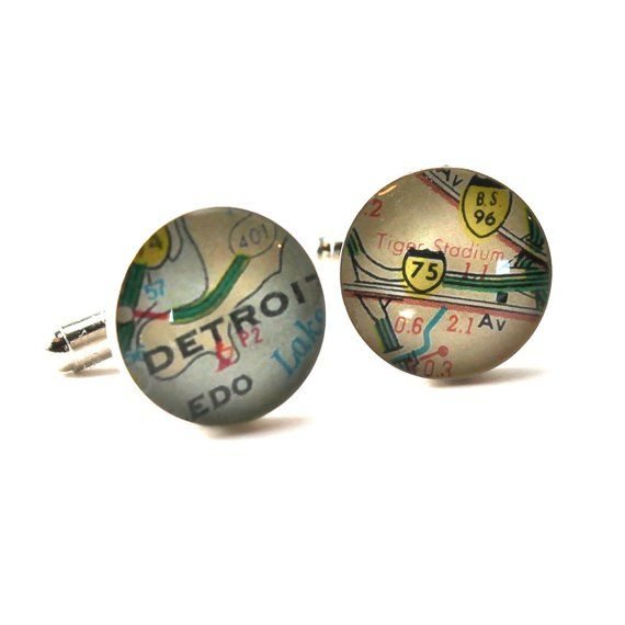 Detroit Baseball Ball Park Vintage Map Sterling Silver Cufflinks by DLK Designs, Christmas Gifts For