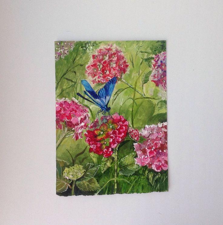 Купить Картина с цветами Голубая стрекоза розовая гортензия летний пейзаж - розовый, картина с гортензтей