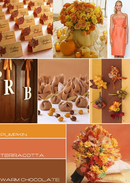 Here is beautiful mix matching autumn colours ,it could be colours for your wedding.      http://www.itakeyou.co.uk/wedding-ideas/wedding-theme/autumn-wedding.htm